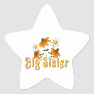 Big Sister Orange Flowers Star Sticker