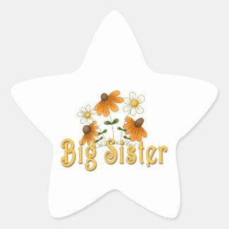 Big Sister Orange Flowers Stickers