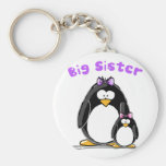 Big sister Penguin Basic Round Button Key Ring