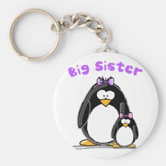 Big sister Penguin Basic Round Button Key Ring