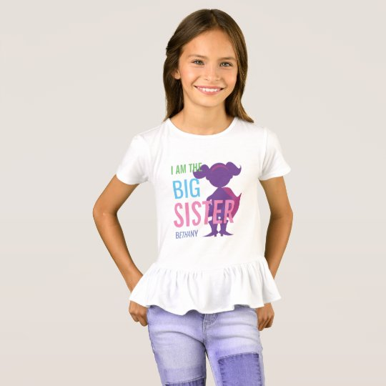 Big Sister Personalised Superhero Silhouette Girls T-Shirt