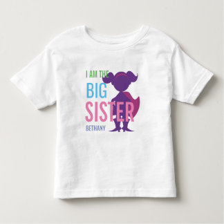 Big Sister Personalized Superhero Silhouette Girls Toddler T-Shirt