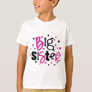 BIG SISTER pink black polkadot T-Shirt