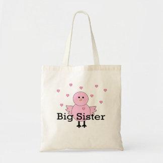 Big Sister Pink Chick & Hearts Budget Tote Bag