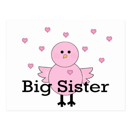 Big Sister Pink Chick & Hearts Postcard