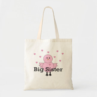 Big Sister Pink Chick & Hearts Tote Bags