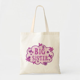 Big Sister Pink Flower Butterfly Tote