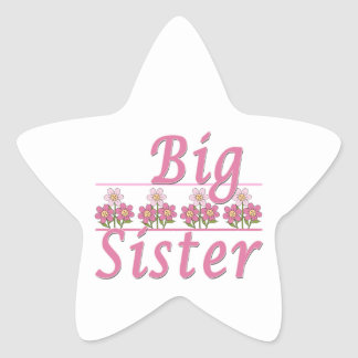 Big Sister Pink Flowers Sticker