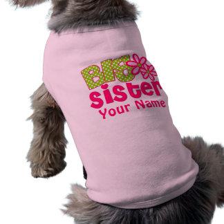 Big Sister Pink Green Personalized Dog Shirt