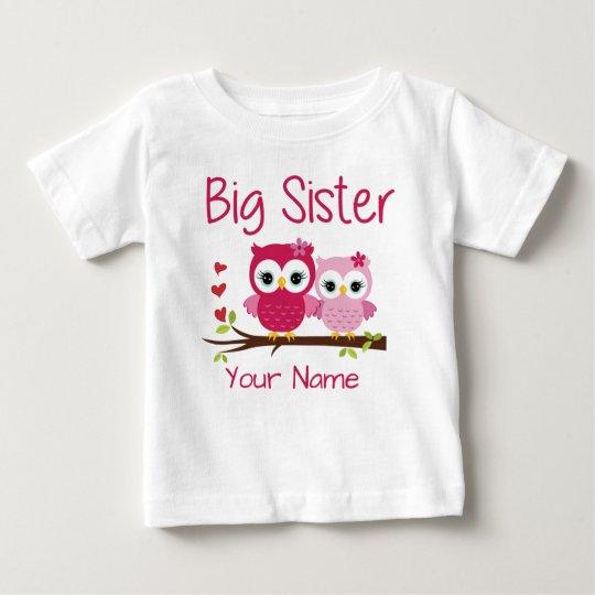 Big Sister Pink Owl Personalised T Shirt