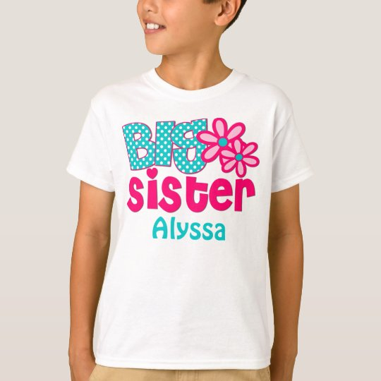 Big Sister Pink Teal Personalised shirt