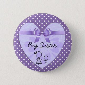 Big Sister Purple and Lavender Polka Dot Button