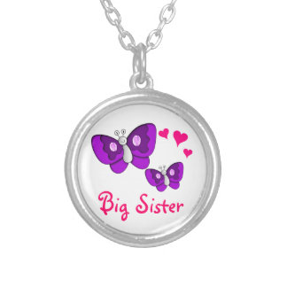 Big Sister Purple Butterfly with Hearts Silver Plated Necklace