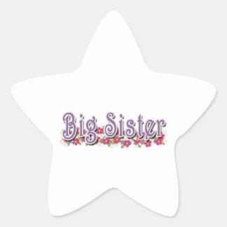 Big Sister Purple Flowers Star Sticker