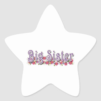 Big Sister Purple Flowers Stickers