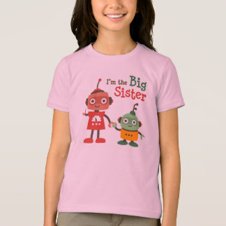 Big Sister - Retro Robot family t-shirts for girls