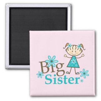 Big Sister Stick Figure Square Magnet