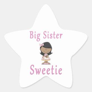 Big Sister Sweetie Black Hair Star Sticker