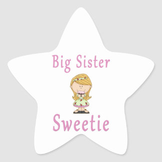 Big Sister Sweetie Blonde Hair Star Sticker