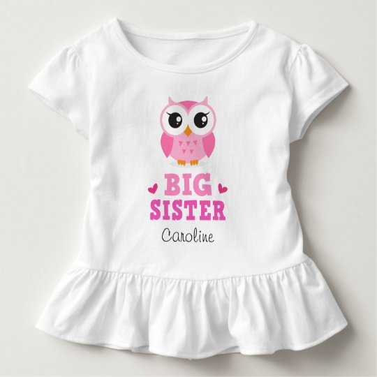 Big sister t-shirt, cute pink owl and custom