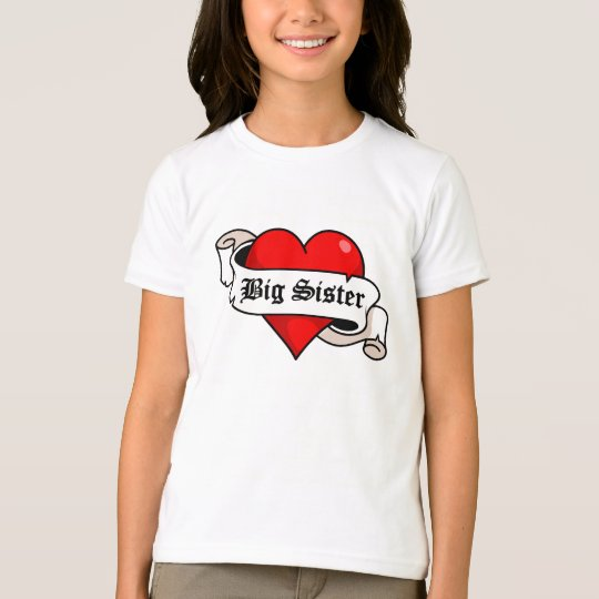 Big Sister Tattoo Heart T-Shirt