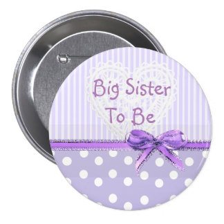 Big Sister to be Baby Shower Button: Purple Bow 7.5 Cm Round Badge