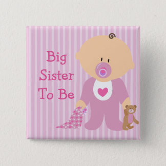 Big Sister to Be Pink Baby Shower Button