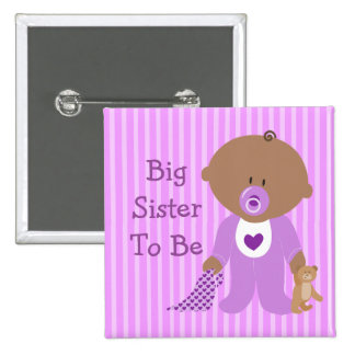 Big Sister to Be Purple Baby Shower Button