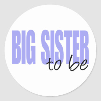 Big Sister To Be (Purple Block Font) Round Stickers