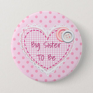 Big Sister To Be Quilted Heart Baby Shower Button