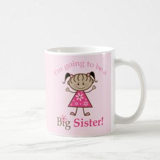 Big Sister To Be Stick Figure Girl Ethnic Basic White Mug