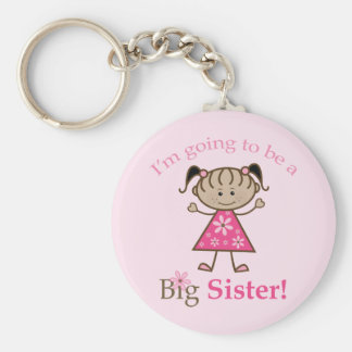 Big Sister To Be Stick Figure Girl Ethnic Key Chains