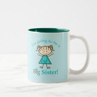 Big Sister To Be Stick Figure Two-Tone Mug