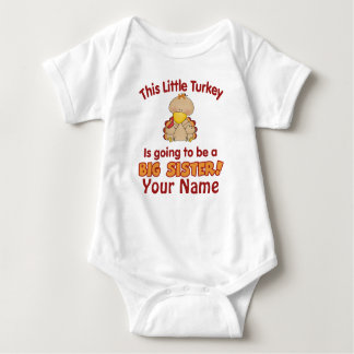Big Sister To Be Turkey Personalized Baby Bodysuit