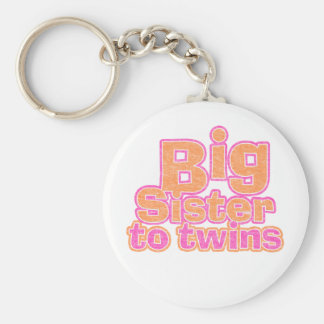 Big Sister to Twins Basic Round Button Key Ring