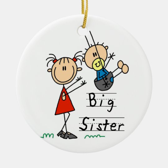 Big Sister with Little Brother Gifts Round Ceramic Decoration