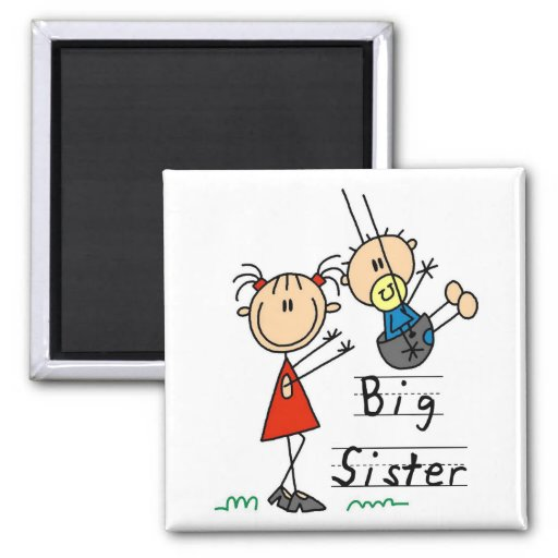 Big Sister with Little Brother Tshirts and Gifts Fridge Magnets
