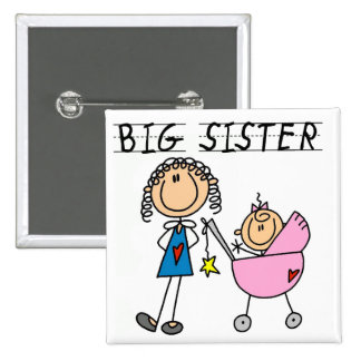 Big Sister with Little Sister T-shirts and Gifts 15 Cm Square Badge