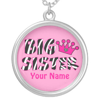 Big Sister Zebra Print Personalized Necklace