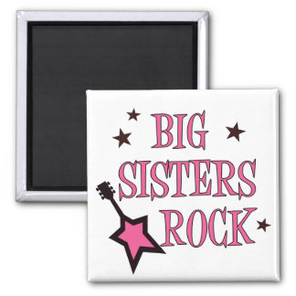 Big Sisters Rock Square Magnet