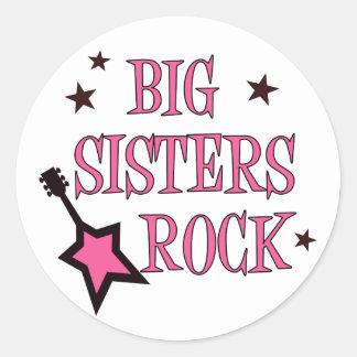 Big Sisters Rock Classic Round Sticker