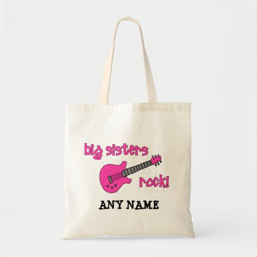 Big Sisters Rock! with Pink Guitar Tote Bags