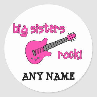Big Sisters Rock! with Pink Guitar Round Sticker
