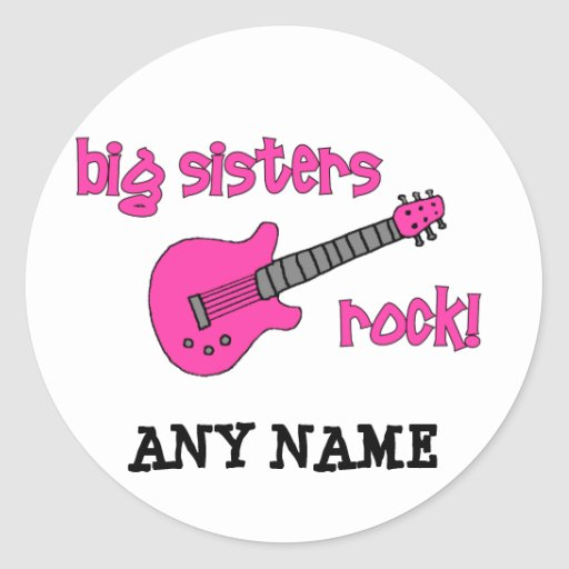 Big Sisters Rock! with Pink Guitar Round Stickers