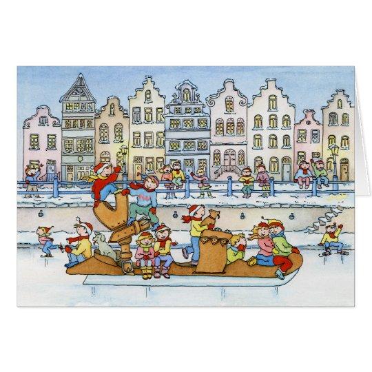 Big Skate Dutch Houses - Christmas Greeting Card