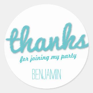 Big Sketch Boy Thank You Birthday Party Stickers