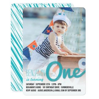 Big Sketch One Baby Boy First Birthday Party Card