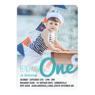 Big Sketch One Baby Boy First Birthday Party Card