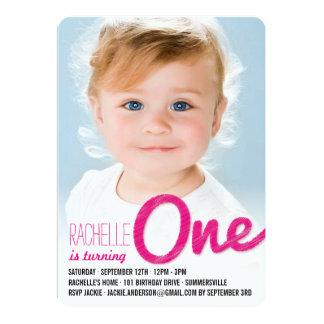 Big Sketch One Baby Girl First Birthday Party 13 Cm X 18 Cm Invitation Card