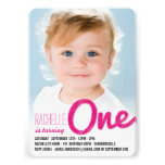 Big Sketch One Baby Girl First Birthday Party Personalized Invitation